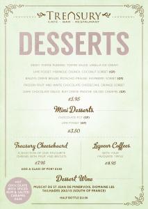 Treasury Spring 2016 desserts menu
