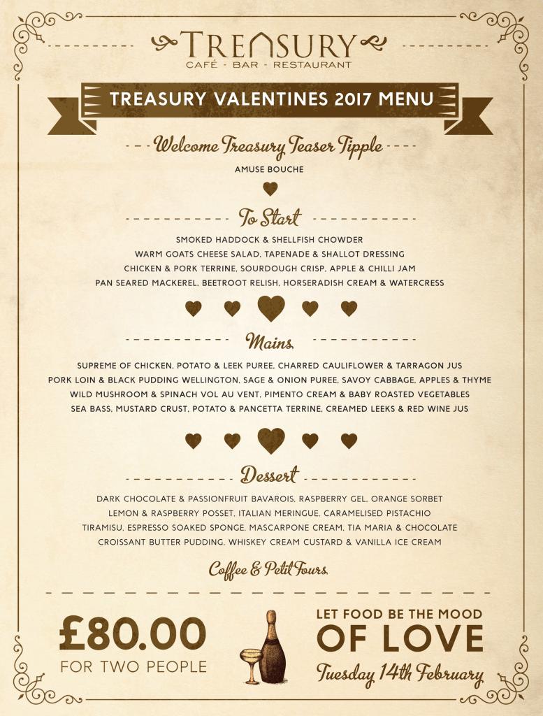Treasury Valentines Menu 2017
